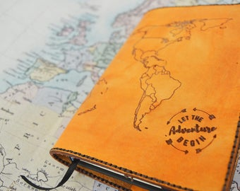 World map journal etsy map moleskine leather journal cover refillable sciox Images