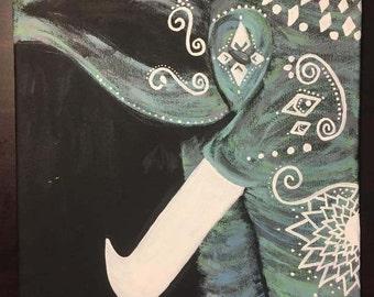 Elephant Painting on 11x14 Canvas