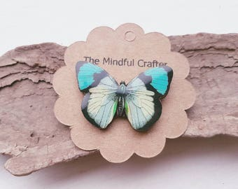Butterfly brooch. Vintage Blue butterfly badge. Butterfly moth jewellery. Moth butterfly accessory