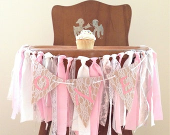 Pink Girls First Birthday Banners / Highchair Banner / Cake Smash Photo Prop / First Birthday Photo Shoot / Pink, Silver & White