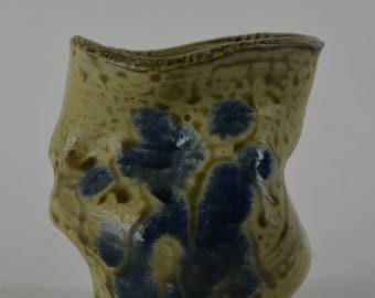 yellow and blue bud vase