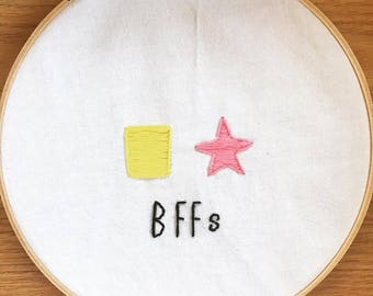 Hand-embroidered Spongebob & Patrick BFF Sign