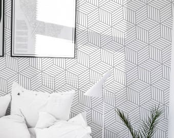 Swirl Wallpaper Black And White Pattern Removable