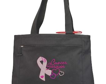 Cancer Survivor Tote Bag/ Embroidered Cancer Survivor Tote Bag/ Choose Cancer Awareness Ribbon Color/ Cancer Gift/ Cancer Fundraiser