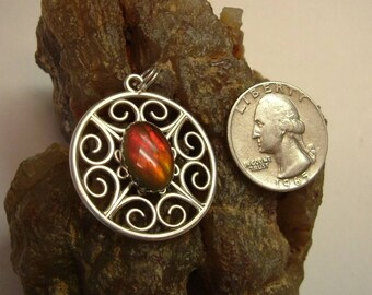 Ammolite Pendant Sterling Silver Large Scottish Knot Utah Gem Fossil Statement Pendant Bright Red Fire Statement Jewelry 057 BG