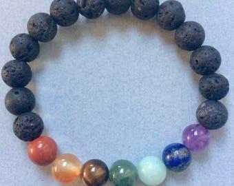 8MM Spiritual 7 Chakra Diffuser Bracelet with Volcanic Lava Stone
