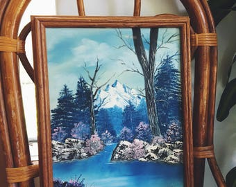 canvas painting / framed art / vintage landscape painting / mountains painting / vintage painting / artist signed painting / vintage art