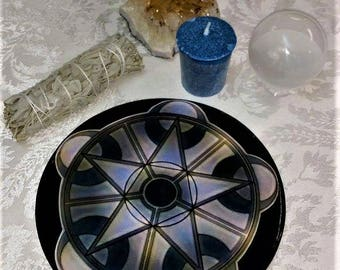 Wooden, Penticle, Crystal Grid Alter Paten