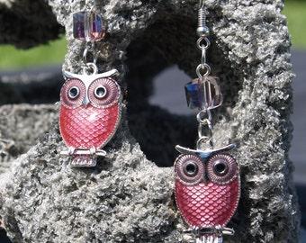 Owl Earrings, Owl Drop Earrings, Owl, Drop,