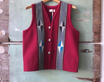 1940's Medium John R. Trujillo's Hand Loomed Chimayo Vest