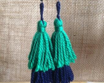Double Tassels Earrings (Green-Navy)