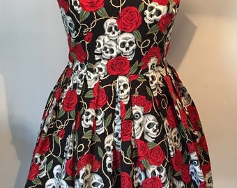 Skulls and Roses 50's style dress