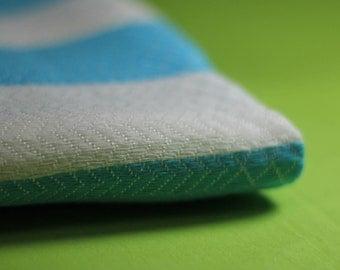 Blue Turkish Beach Towel, Cotton and Viscose Peshtemal, Cotton and Viscose Beach Towel, Hammam Towel, Turkish Bath Towel