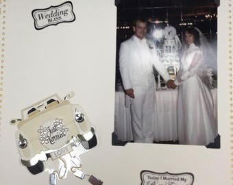 Wedding 12 x 12 Premade Scrapbook Single Page F04