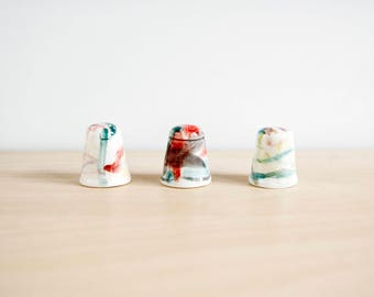Collectible antique thimbles set of 3, Miniature ceramic handmade and handpainted thimbles, Collectible antique unique thimbles collection