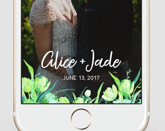 Handpainted Floral Wedding Custom Snapchat Geofilter | Wedding Snapchat Geofilter | Watercolor Snapchat Filter