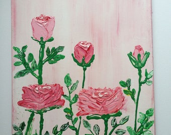 Pink roses - original acrylic painting, medium size