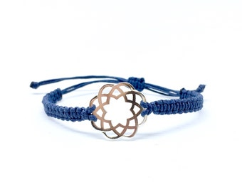 Macrame bracelet with Silver Lotus Flower