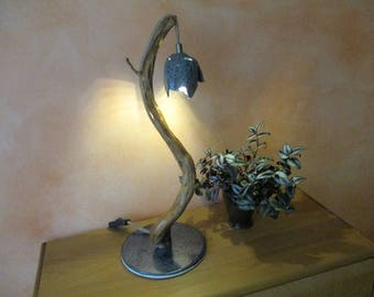 Blue Green LED floor lamp, table lamp, floor lamp with root, ceramic, ceramic lamp shade and hemp cord switch