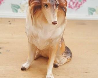 Vintage china collie dog figurine, ornament, glazed