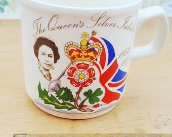Vintage Queen's Silver Jubilee mug, Commemorative Elizabeth II mug.