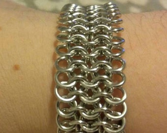 Handmade Silver Anodized Aluminum European Weave Bracelet
