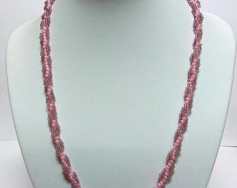 Pink twist seedbead necklace