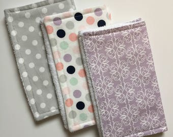 Baby Burp Cloths Set of 3, Baby Shower Gift, Baby Girl Burp Cloths, Terry Burp Cloths, Burp Rags, Purple/Gray, Baby Gift, FAST shipping