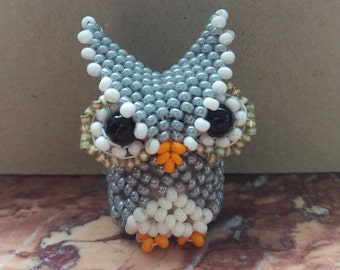 Small charming Grey Owl from beads in 3D decoration gift