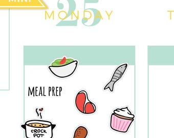 Meal prep planner stickers, diet stickers, cooking stickers, cheat day, crockpot, meal plan stickers