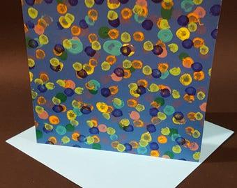 Handmade greeting card, Modern greeting card, Hand painted greeting card, Ready to frame greeting card, OOAK greeting card