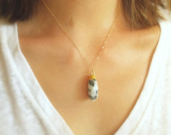 Waterdrop Druzy Quartz Black and White with 14K Gold Filled Chain Necklace