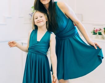 Family Look Dress, Mom and Daughter Matching Dress, Matching Outfits, Me and You Dress, Emerald green, Infinity Dress, Convertible Dress