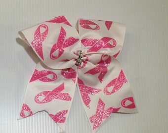 Breast Cancer Awareness Pink and White Cheer Bows