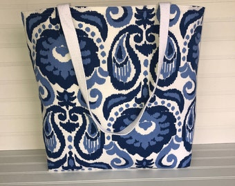Handmade Everyday Tote | Market Bag |  Blue Paisley Tote