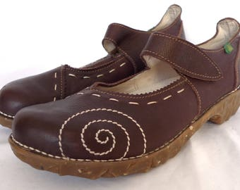 Superb! EL NATURALISTA Womens Yggdrasil Brown Mary Jane Clog Shoe 41 Euro MULES