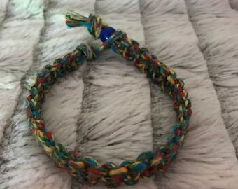 Multi-color thick hemp braided bracelet