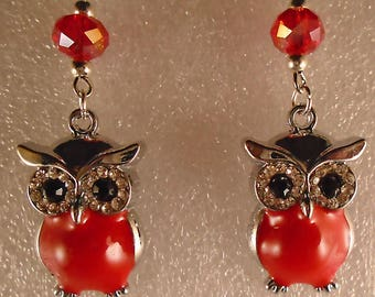 OWL Earrings Crystal/Glass- Custom Made in the USA with Free Shipping