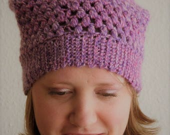 crochet slouchy Hat-purple/yellow/pink marble