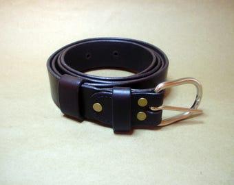 "Brown Italian leather handmade belt 1,25"""