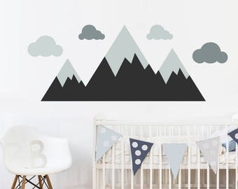 Mountains Wall Decal - Forest Woodland Wall Art - Nursery Vinyl Wall Decal