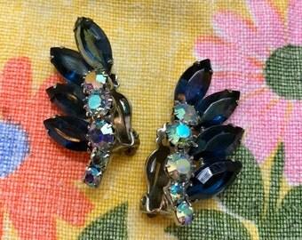 Vintage Rhinestone Costume Clip On Earrings