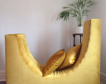 Mustard Yellow Velvet Curved Lounge Chair