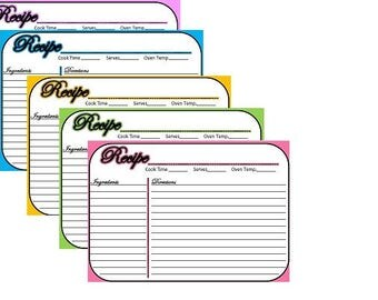 "COLORFUL 5x3.5"" RECIPE CARDS / printable / instant download / simple / colorful /"
