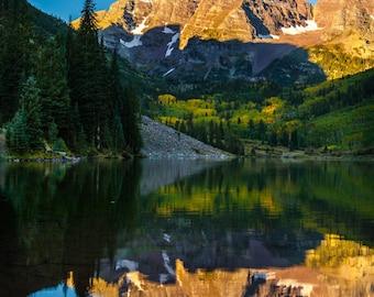 Maroon Bells // Aspen // Alpenglow // Fall Colors // Rocky Mountains // Colorado // Landscape Photography // Fine Art // Canvas // Giclée