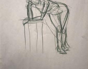 "Figure Drawing - Female Listening In 18"" x 24"""
