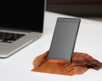 Pear Wood Live Edge Stand for Smartphones
