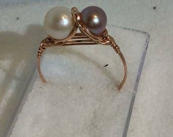 Rose Gold Double Pearl Ring Wire Wrapped