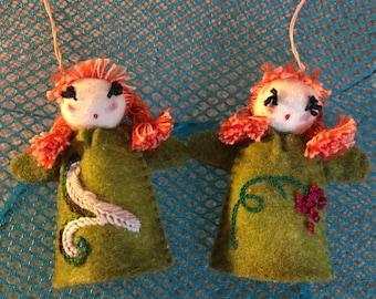 Felt Doll, Felt Girl, Red-hair doll, Hanging Toy, Christmas Decoration, Gift Idea, Christmas Toy, Souvenir, Kyrgyz doll