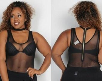 Plus size mesh bodysuit